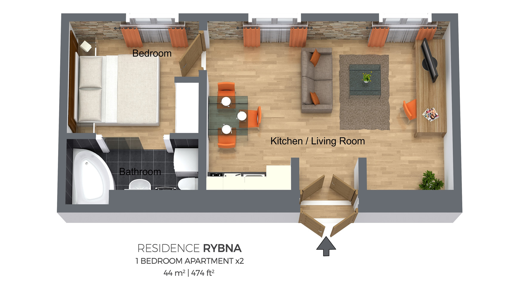 One Bedroom Apartment Type 2 | Residence Rybna